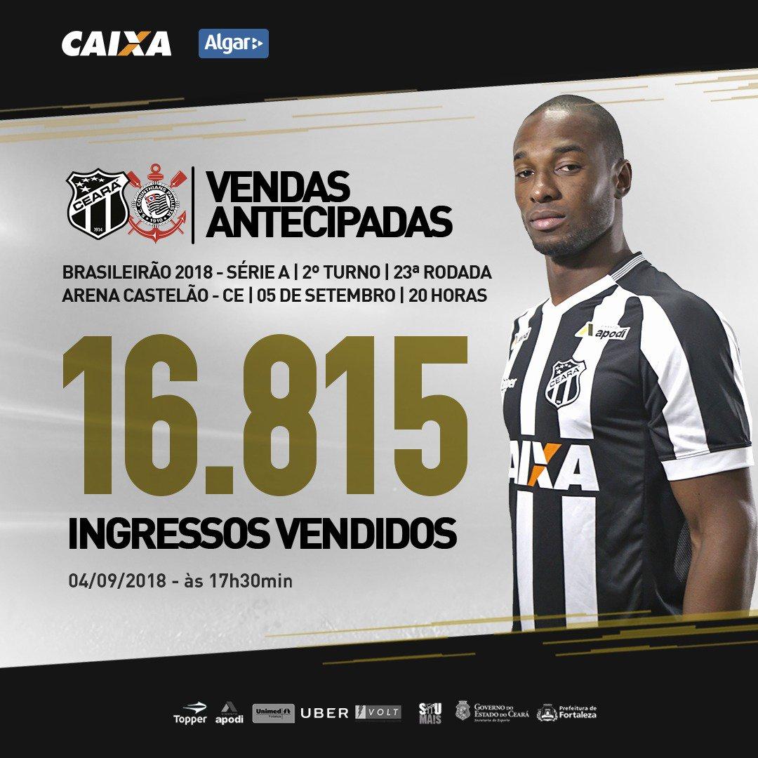 b48d02643e Ceará vende 16.815 ingressos antecipados para jogo contra o Corinthians