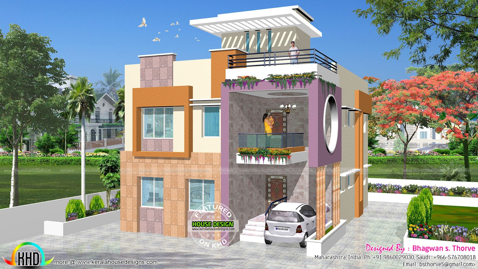Modern duplex house achitecture kerala home design and for Modern duplex house designs