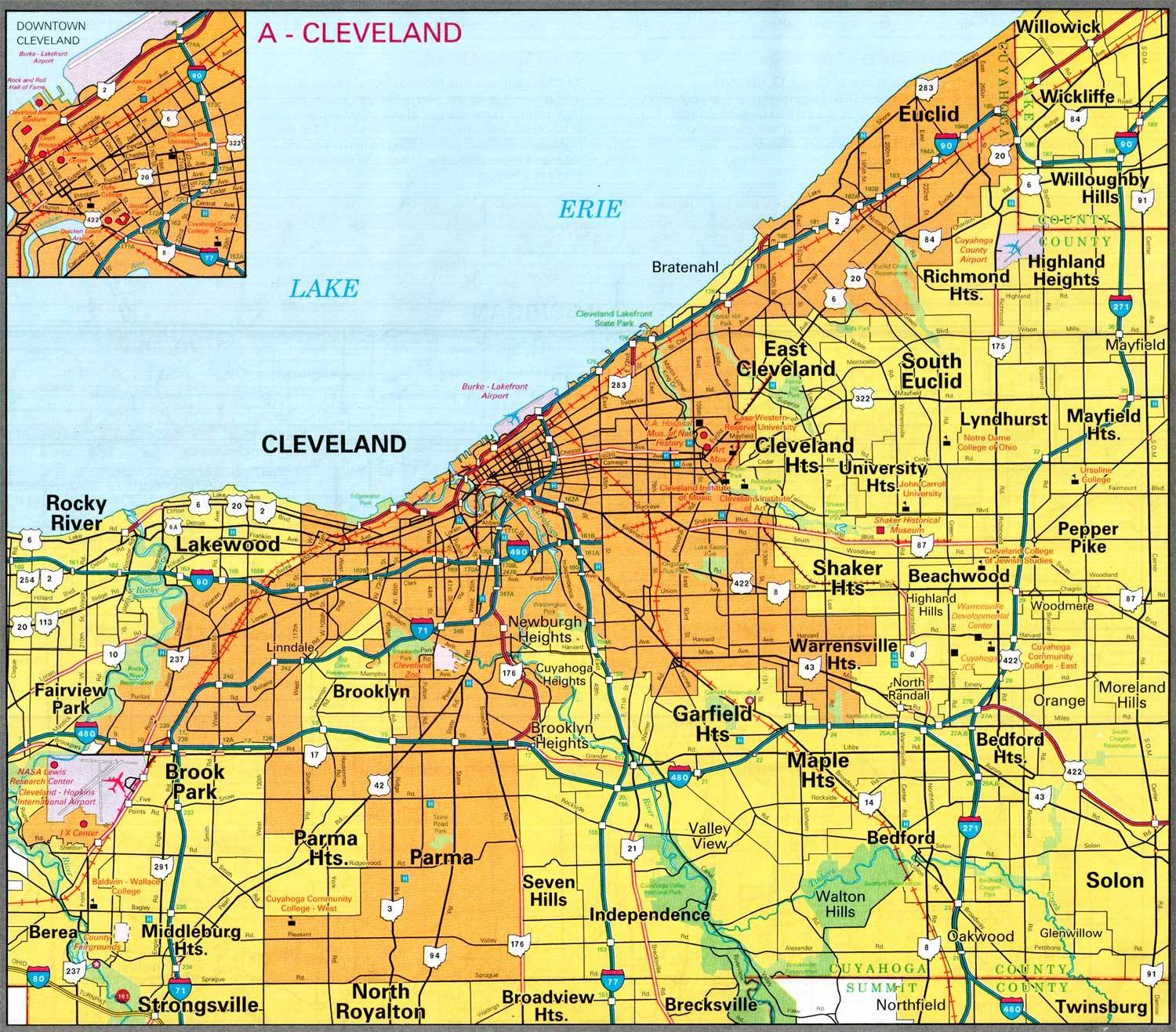 Cleveland Map - Free Printable Maps on