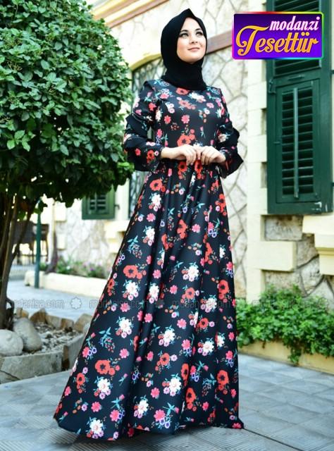 1738b85fc60ce Çiçek Elbise - Siyah - 2019 Çiçekli Elbise Modelleri - Modanisa