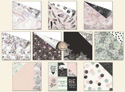 Scraps of Darkness scrapbook kits Aug2017 Patterned Paper, featuring Prima Rose Quartz and Simple Stories Beautiful collections.
