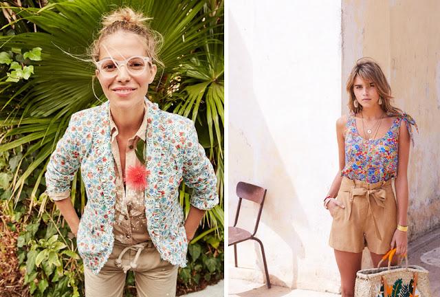 Девушки в жакете и блузке с мелким цветочным принтом Либерти