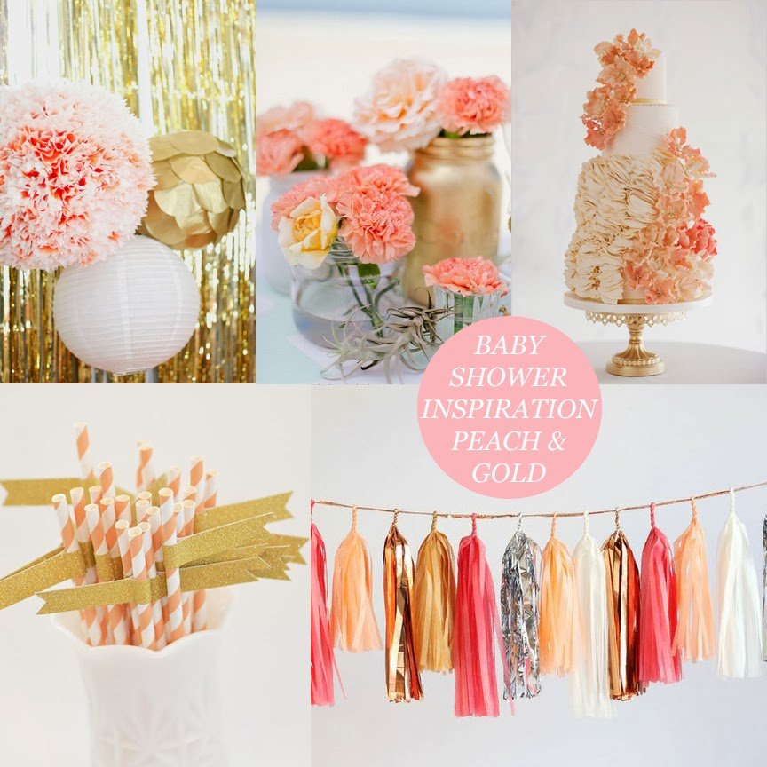 baby shower inspiration peach gold beau monde mama