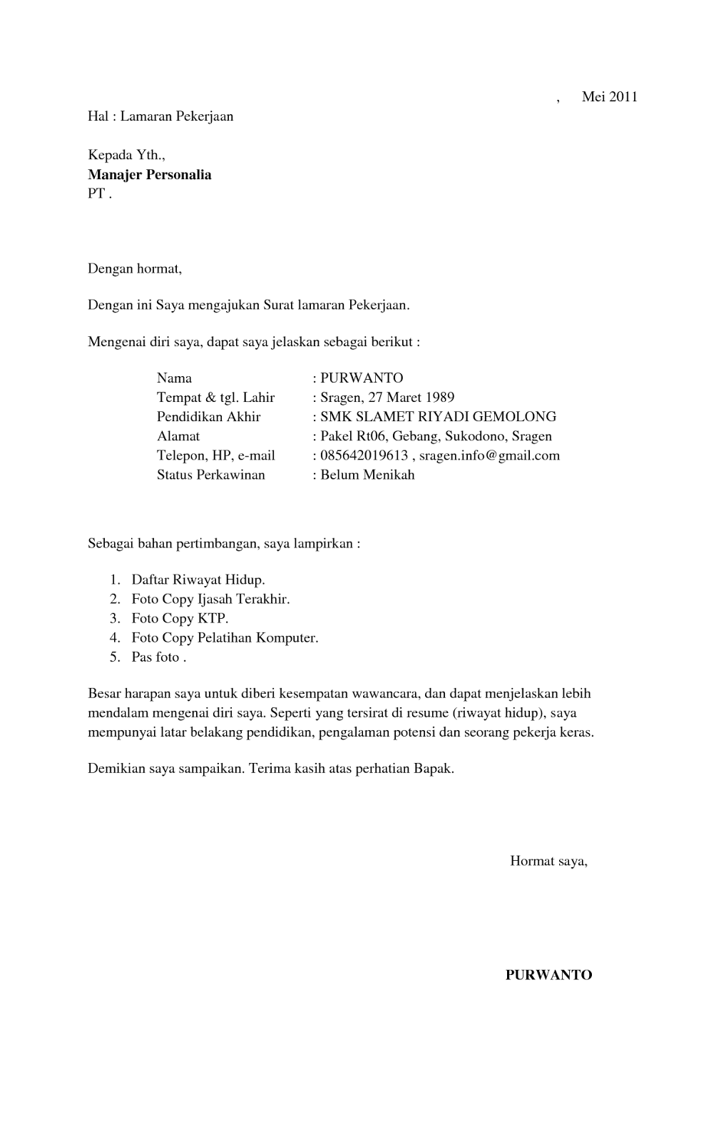 Contoh Surat Lamaran Kerja Di Garment Terbaru Susan Jobs