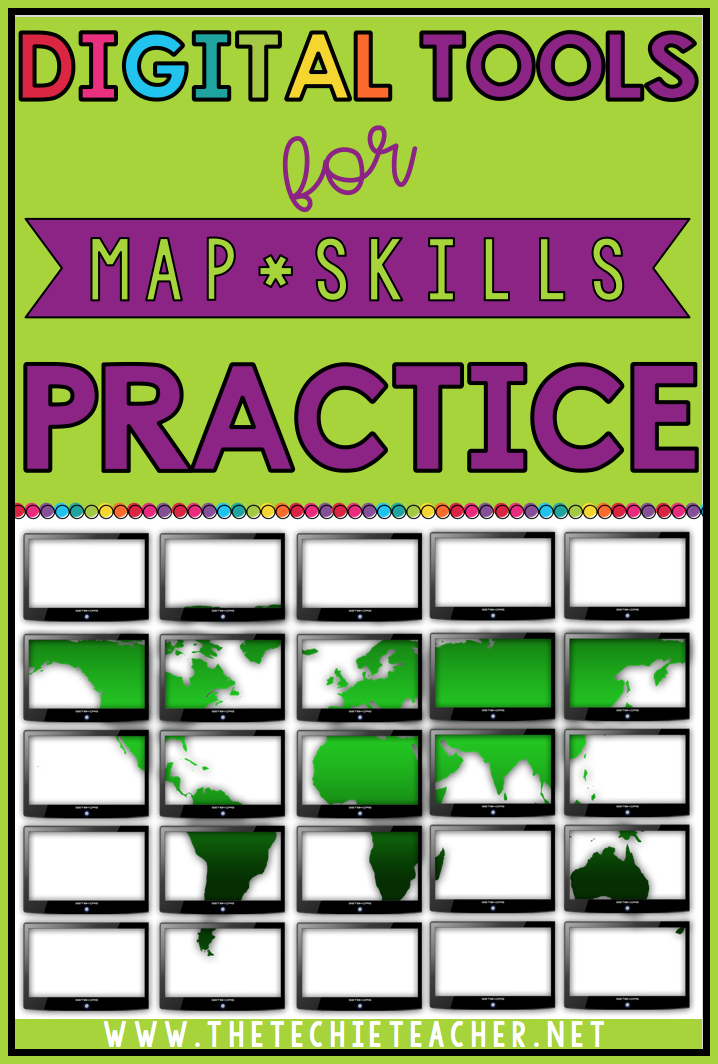 Digital tools for map skills practice when using Chromebooks, laptops or computers. Technology in the classroom.