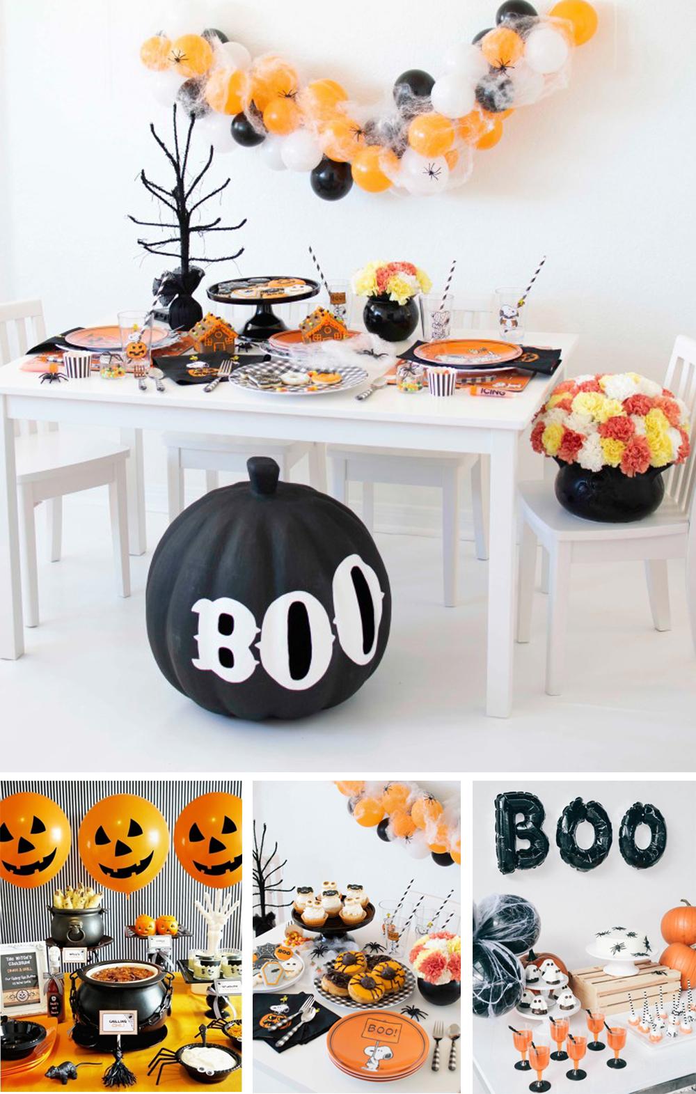 como decorar candy bar para halloween infantil con tonos naranja negro y blanco y globos