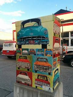 Classic car-themed utility box wrap near auto repair shop, Bozeman, Montana