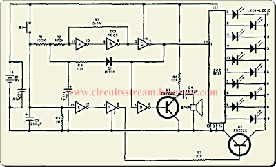 Simple LED Wheel Of Fortune Circuit Diagram