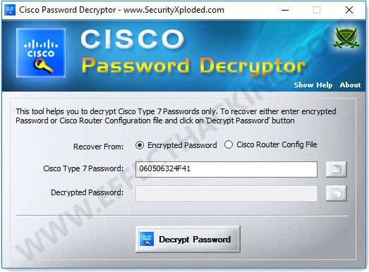 Cisco Password Decryptor Screenshot 1