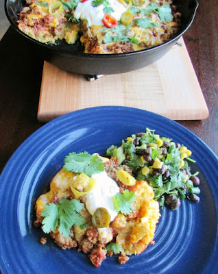plate of served tamale pie ready for the dinner table