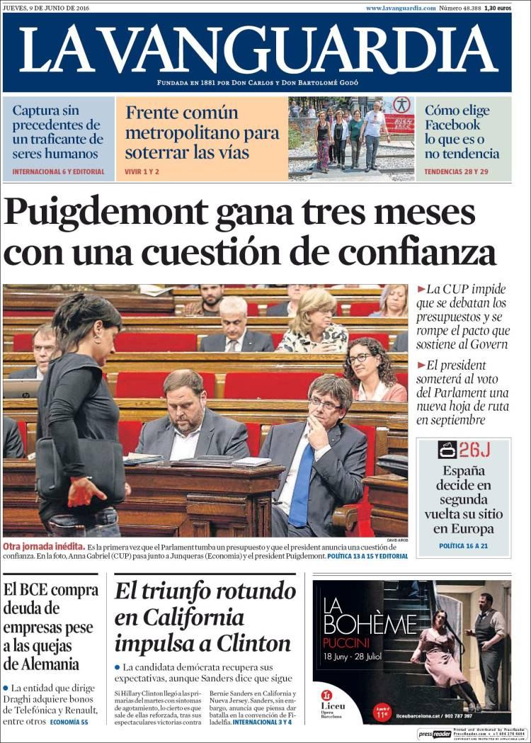 Portada de 'La Vanguardia'.