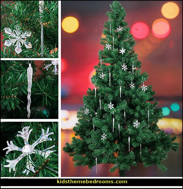 Glass Iridescent Snowflake and Icicle Ornaments for Chirstmas Tree Decorations