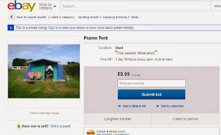 ebay advert for a bright coloured canvas tent