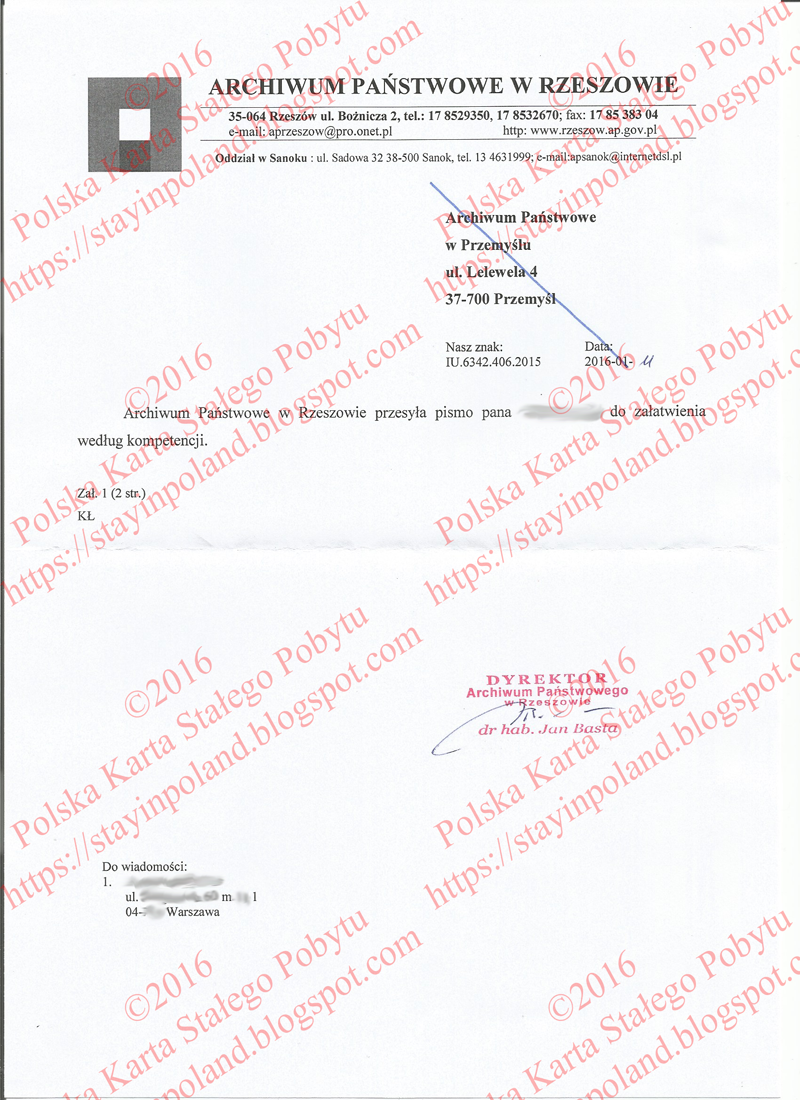 Lista, archiwum w Przemyszlu 1