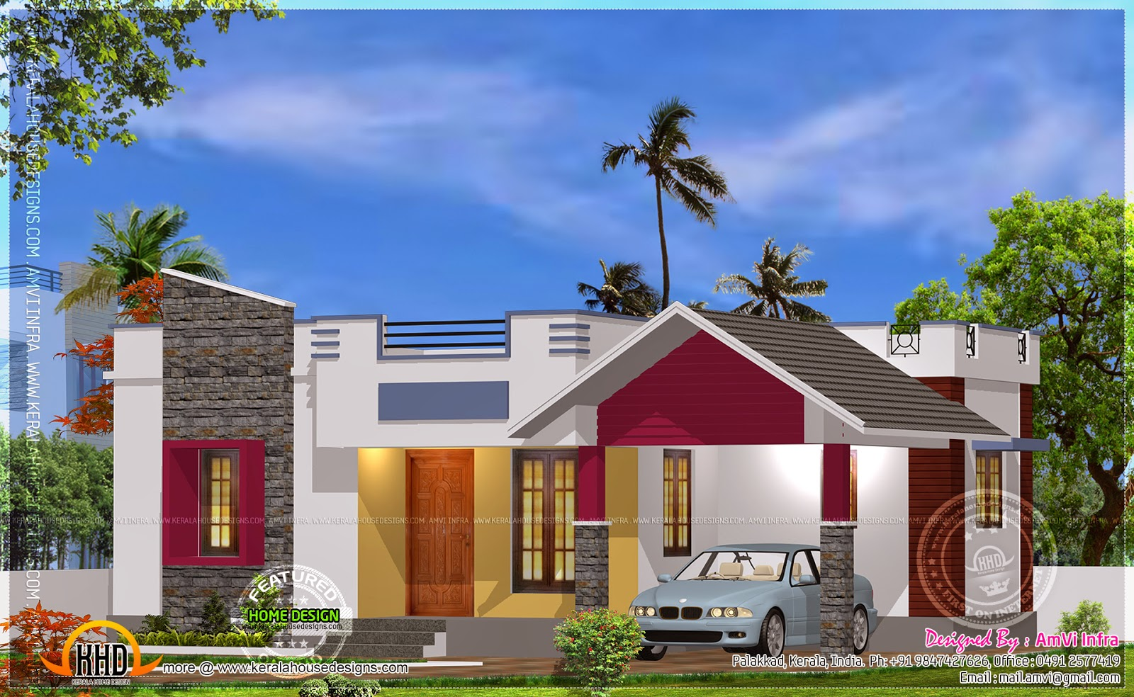 Stylish 900 sq ft new 2 bedroom kerala home design with for Home design 900 sq feet