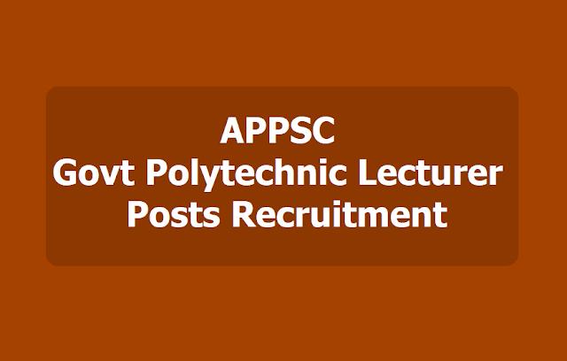 APPSC Govt Polytechnic Lecturer posts