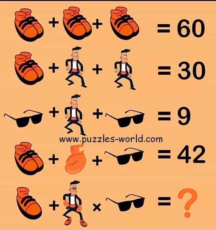 Shoes + Shoes + Shoes = 60 puzzle