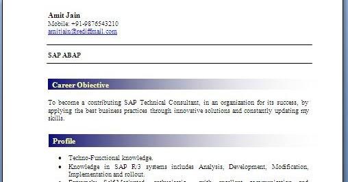 abap fresher resume format