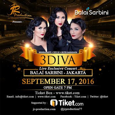 Promo Tiket Konser 17-09-16 Untuk Konser 3 Diva Di Balai Sarbini