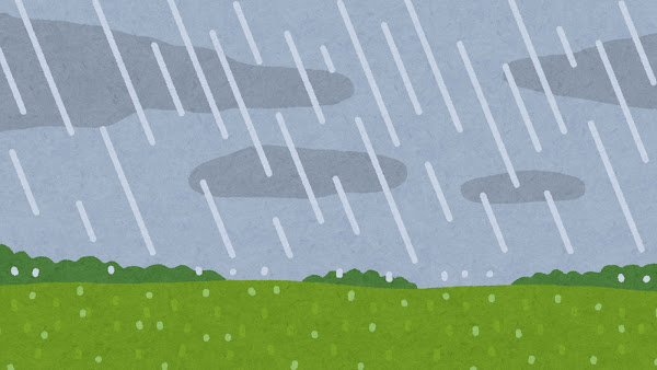 雨が降る草原のイラスト(背景素材)
