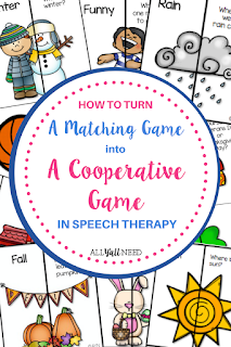 How to turn matching games into cooperative games in speech therapy to address student IEPs and work efficiently