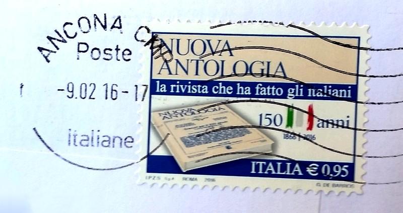 francobolo 150º anniversario della rivista Nuova Antologia