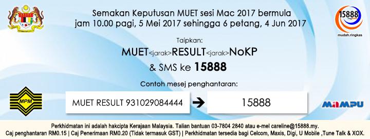 Semakan MUET Mac 2017 sms