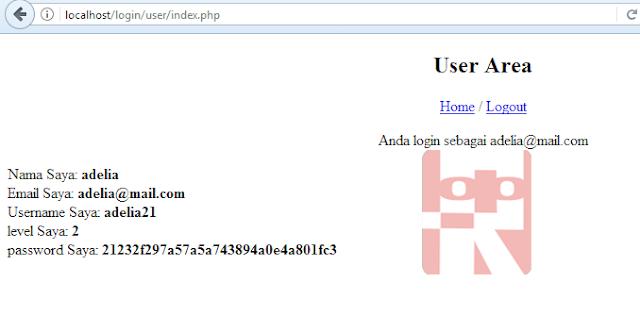 login sebagai user