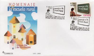 Sobre PDC del sello del homenajea a la Escuela Rural. Matasellos de Ibias