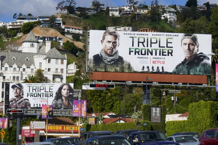 Triple Frontier film billboards Sunset Strip