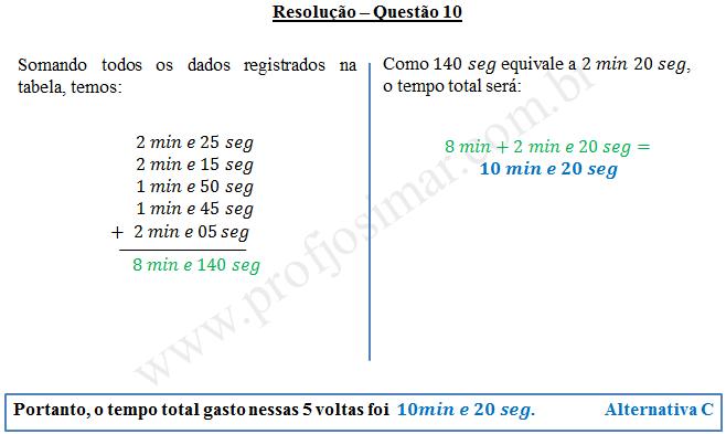 Questão 10 - Sistema de medidas usuais