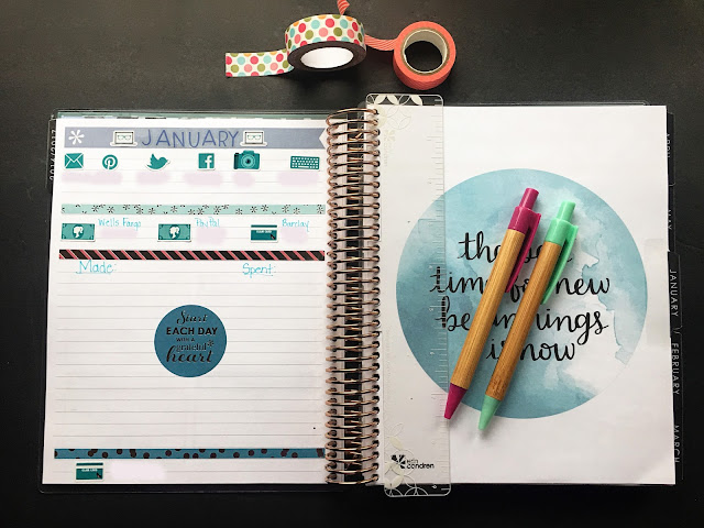 My Eric Condren planner laid open to the notebook page before the monthly layout.