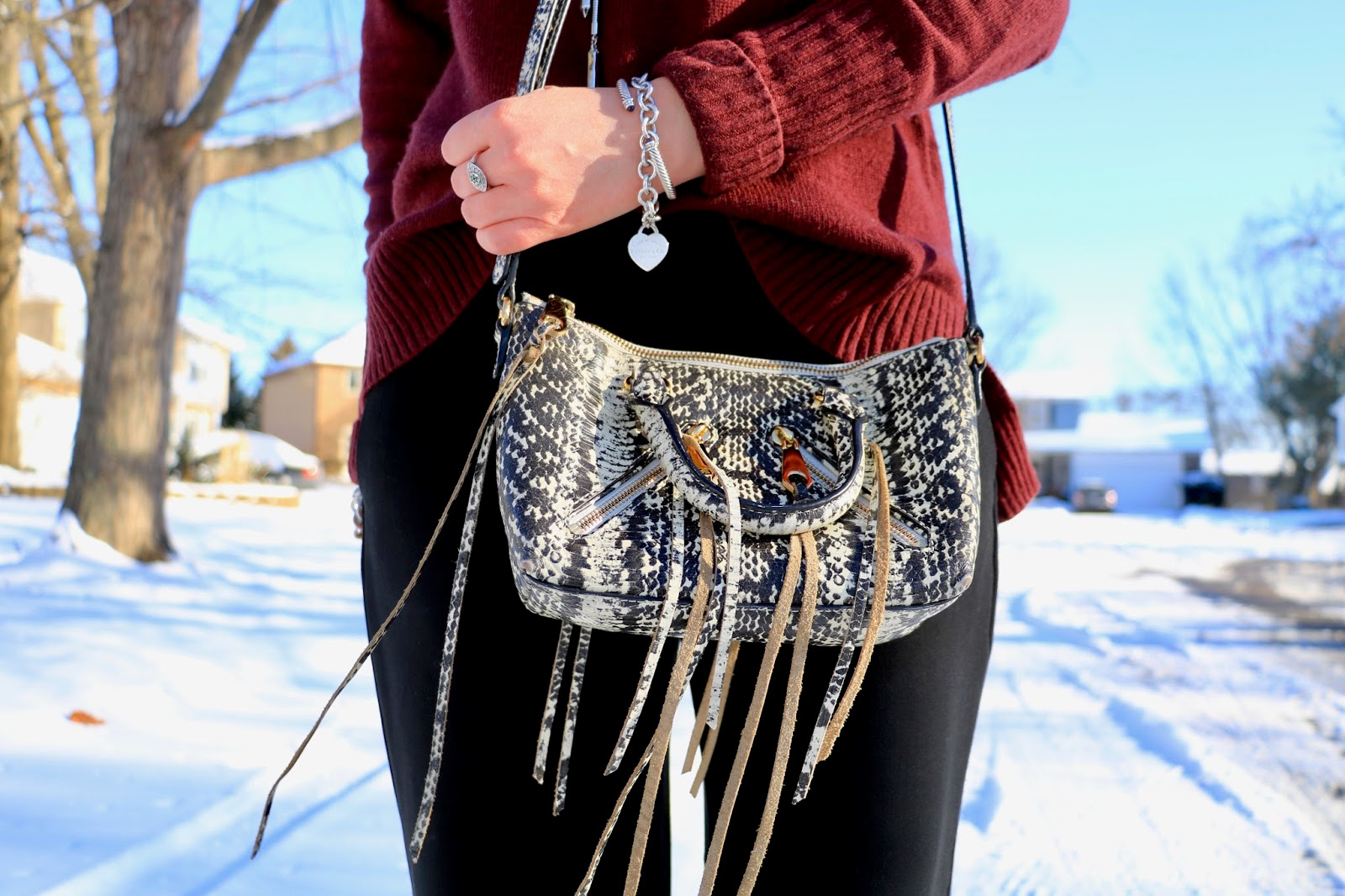 Nyc fashion blogger Kathleen Harper wearing a Rebecca Minkoff snakeskin purse