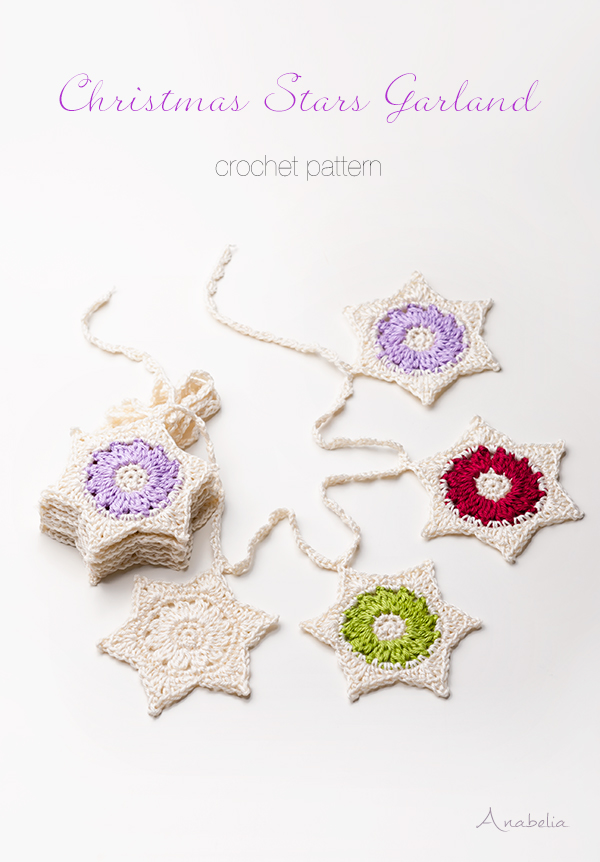 Would you like to crochet some last minute Christmas decorations? Try Christmas Stars Garland crochet pattern, Anabelia Craft Design