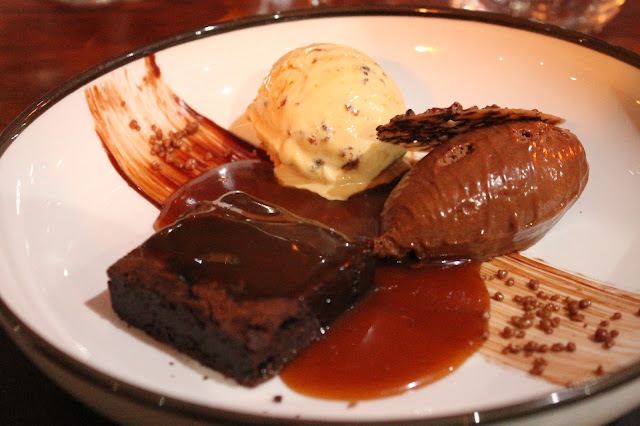 chocolate brownie ice cream and popping candy pudding at the hardwick restaurant abergavenny