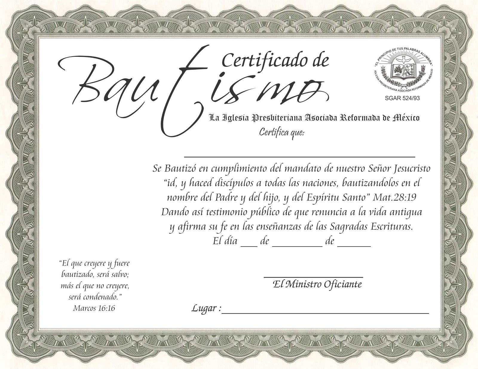 Acta De Matrimonio Catolico : Certificado de bautismo iglesia presbiteriana asociada