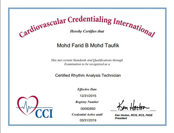 CVT Mohd Farid: Certified Rhythm Analysis Technician (CRAT)