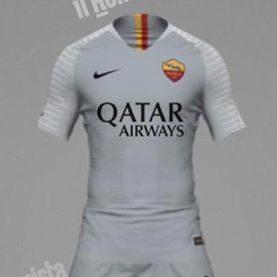 04b437f8d4eb5b Not the most usual color used in club history, the AS Roma 2018-19 away  shirt is predominantly light grey, with black brandings and based on the  latest ...