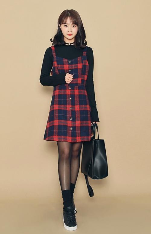 Checkered Button-Down A-Line Pinafore Dress