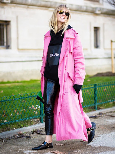 pink jacket street style