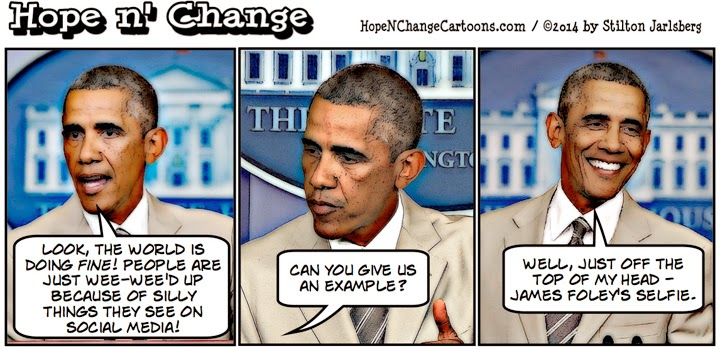 obama, obama jokes, political, cartoon, stilton jarlsberg, hope n' change, hope and change, social media, isis, strategy, foley