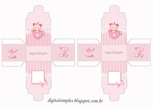 Baby Girl in Pink,  feeding bottle shaped Free Printable Box.