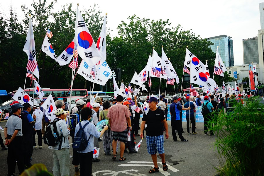 pro president park and US demonstration in Seoul