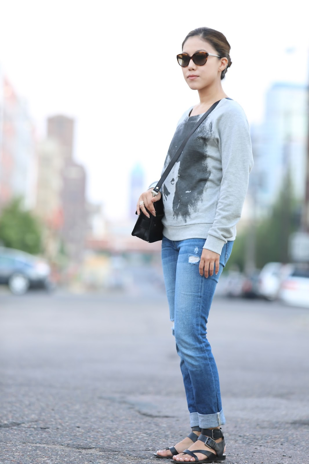31776c7e78 Haute Hippie sweatshirt (similar here) Proenza Schouler PS11 Franco Sarto  glinda flat sandal. Ralph Lauren sunglasses (similar here)