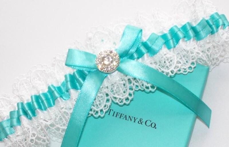 Cinta-liga de casamento azul tiffany
