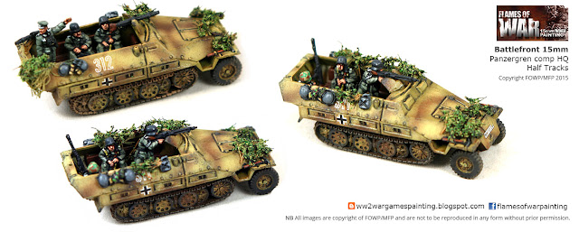 Battlefront 15mm Panzergren Company HQ SDKFZ 251's . Painted by FOWP/MFP 2015