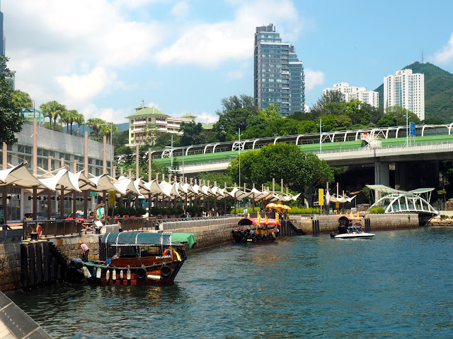 Sampans moored along the promenade at Aberdeen, Hong Kong