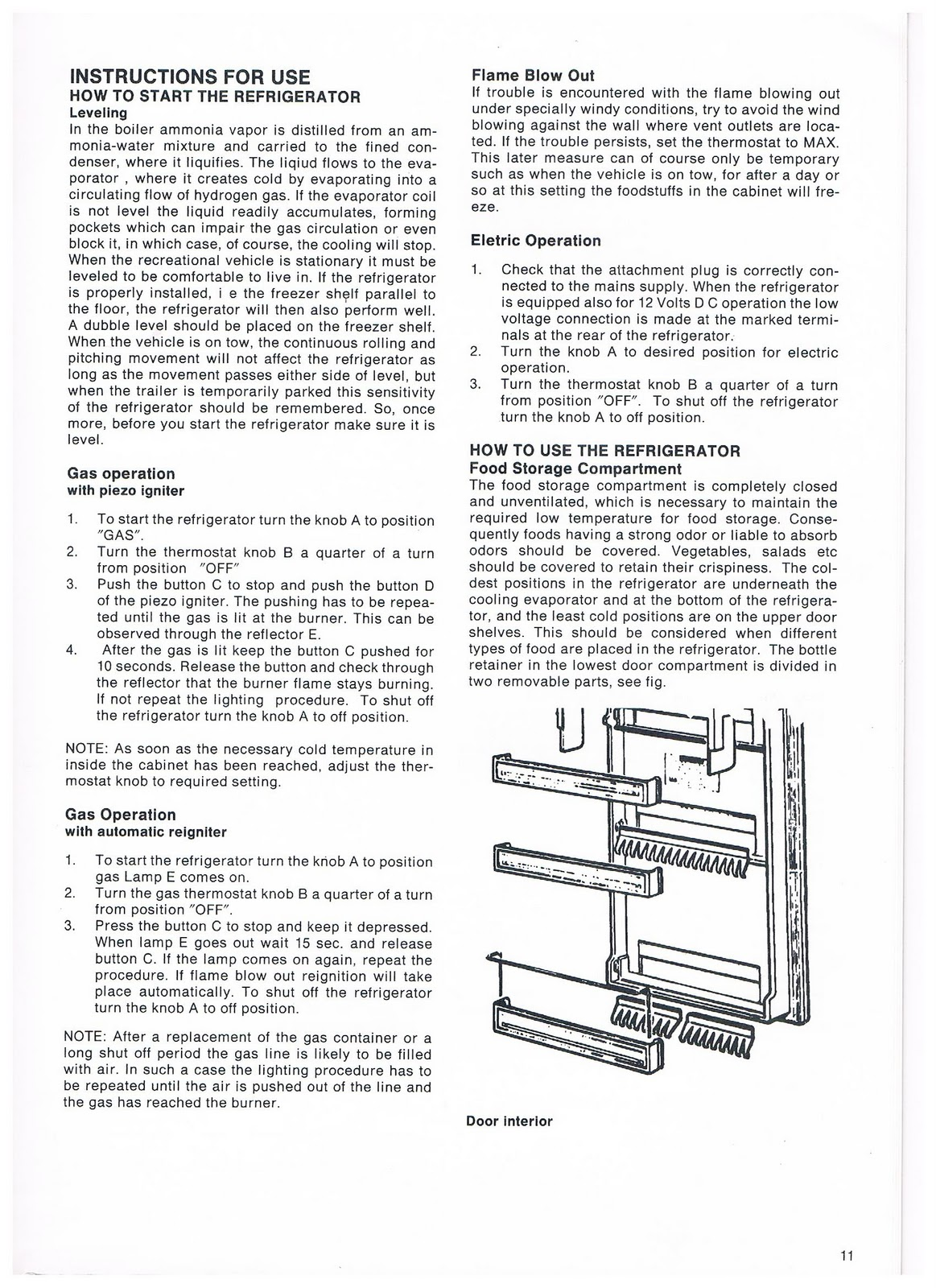 Dometic Refrigerator Rm2652 Owners Manual Wiring Schematic Instructions For