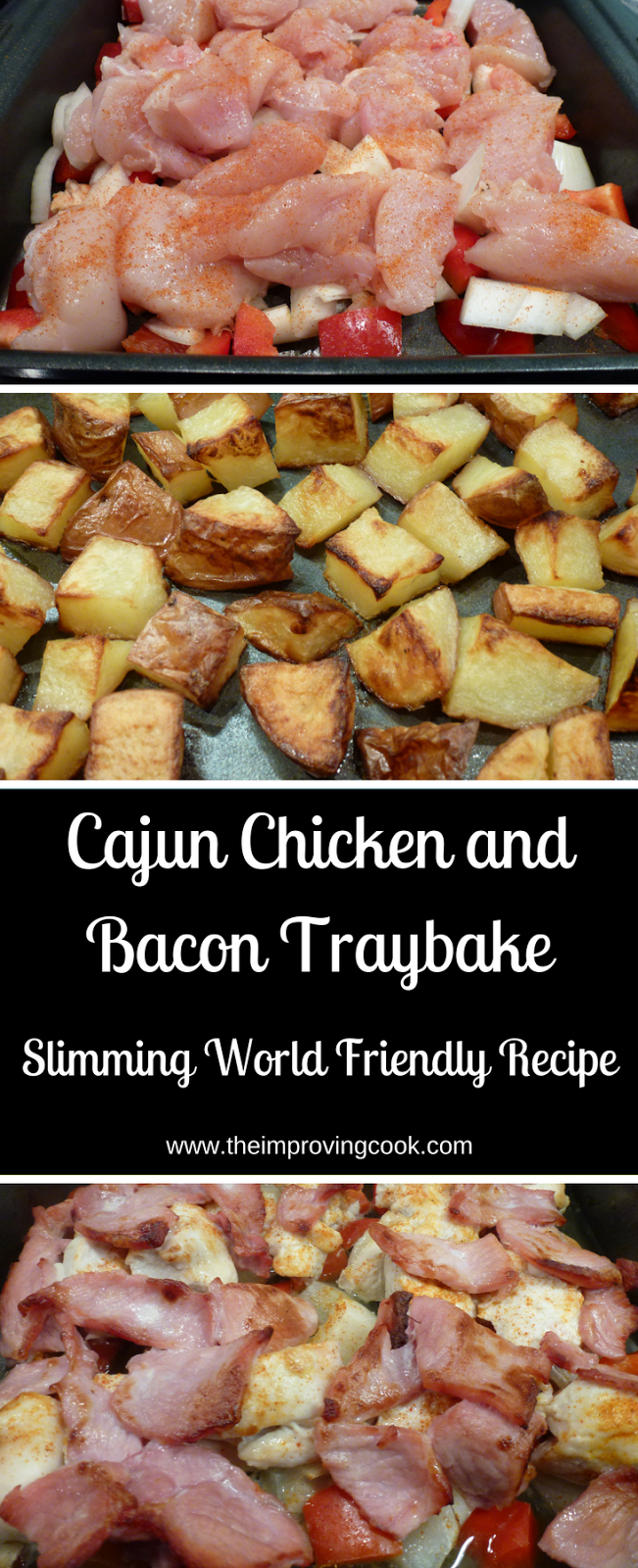 Cajun Chicken and Bacon Traybake pinnable image