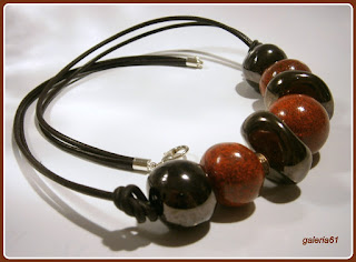 naszyjnik, porcelana brązowy i bordowy, czerwony